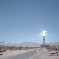 solar energy. mojave desert, ca. 2015. (eyetwist) Tags: eyetwistkevinballuff eyetwist energy power mojavedesert ivanpah solar film analog 6x6 mamiya 6mf 75mm kodak portra 160 mamiya6mf mamiya75mmf35l kodakportra160 ishootfilm analogue emulsion mamiya6 square mediumformat 120 filmexif icon epsonv750pro filmtagger ishootkodak 6 mojave desert california highdesert landscape americana americantypologies roadsideamerica typology southwest usa america interstate 15 i15 ivanpahvalley electricity generating heliostat mirror powertower boiler solarflux white hot sunlight steam sun reflected beams bird birds avian mortality killed streamer incinerated vaporized nevada american west plant newtopographics