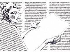 La liseuse [20180409] #946 (946) (rodneyvdb) Tags: art blackandwhite bw collage contemporary drawing expression expressionism eyes fashion femme illustration ink liseuse model newspaper paris portrait reader vogue woman