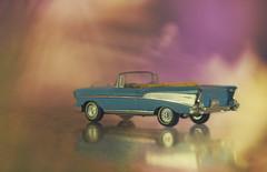 Good vibrations (charhedman) Tags: 1955chevroletconvertible dinkytoy mini reflections car blue yellow wheels otisandfleurdontfitinitbecauseitstoosmallforthem
