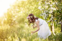 IMG_0229 (Galika_) Tags: beautiful sweet sweetnest girl cute child cgildhood magic magical garden apple flower wreath dress white dreaming dream park outdoor sunny sundown lovely spring boho