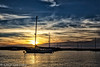 Sunset Boat (lorinleecary) Tags: boats clouds morrobay blue harbor sunset water white yellow