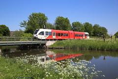 Betuws voorjaar (Maurits van den Toorn) Tags: trein train treinstel dmu stadler gtw arriva betuwe betuwelijn opheusden dieseltrein reflectie reflection spiegeling rot rosso red rouge