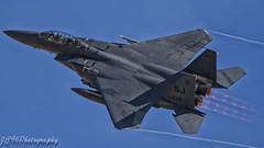USAF SJ F15E Eagle departing Nellis AFB on exersize red flag 18-2. (JC96 Photography) Tags: f15 eagle strikeeagle boeing nellisafb flex takeoff bluesky aviation aircraft aviationphotography canonuk canon7dmark2 airforce usaf usa america fighterjet pilot afterburner simonjohnson