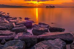 sunset 8130 (junjiaoyama) Tags: japan sunset sky light cloud weather landscape purple orange contrast color bright lake island water nature winter calmness reflection rock