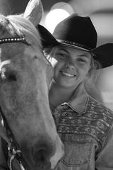 Cowgirl and her Pony, Arcadia Youth Rodeo-2018 (Eric Seibert) Tags: ericseibert rodeo youthrodeo youngcowgirl horselover arcadiaflorida cowboyhat cowboylife blackandwhiteportrait