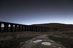 Ribblehead Viaduct, Whernside & Venus reflected in a puddle (diamond-skies) Tags: ribblehead viaduct whernside venus ingleton yorkshire dales starry sky night