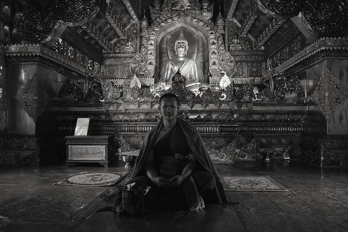 The monk in Silver Temple, Chiang Mai, Thailand
