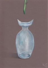Feeding time! (Klaas van den Burg) Tags: vase glass blue rose food humor color pencils