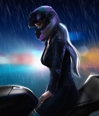 Driving (.ɴɪᴋᴋɪ.) Tags: second life blog post photo manipulation edit photoshop driving bike helmet motorcycle drawing hair leather jacket leggins nails designer release mesh head body maitreya doux