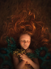 The Flame ({jessica drossin}) Tags: jessicadrossin redhair redhead flowers curls hair freckles surreal wwwjessicadrossincom