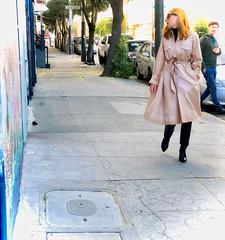 Elena in Trench followed by mysterious French man (Lynn Friedman) Tags: sanfrancisco california unitedstates us 94117 lowerhaight fillmorestreet couple fashion fashionista ganni designerclothing trenchcoat