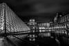 paris le louvre (joboss83) Tags: paris le louvre bw fuji france réflexion nuit night fujixt1 noir et blanc monochrome architecture monument musée