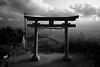 Sky Torii (Wilson Au | 一期一会) Tags: takayashrine kagawaprefecture shikoku japan blackandwhite monochrome torii canon eos5dmarkiii ef2485mmf3545usm backlight contrast landscape sky cloud