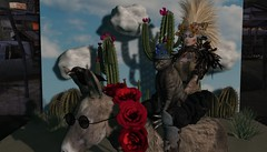 That Weird Dream..With the Blind Donkey, Cactus, Cat in the Blue Frog Hat..and Are Those FLOWERS in My Hair...omg! (tralala.loordes) Tags: donkey cat crow cactus desert backdrop photoop dream nightmare roses flowers frog ferns dragonflies secondlife virtualreality tralalaloordes tralala monkeymo ckelitestudios tmh madhattery fakeclouds lindenlabs genesislabs pixels miseenscene build tableau scene concept idea daydream fright hallucination