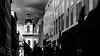 Lyon  -  Grand Hôtel-Dieu rue Bellecordière. (Gilles Daligand) Tags: lyon rhone architecture grandhôteldieu nouveau shoppingmail centrecommercial noiretblanc bw monochrome olympus omdem5 12100 clocher eglise chapelle