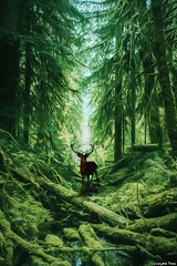 The Guardian (gusdiaz) Tags: photoshop photomanipulaton digital art arte composite composition composicion bosque arboles trees deer foliage green beautiful guardian madera vegetacion verde mountains sendero trail