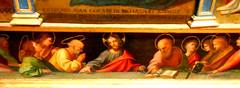 """Jesus Christ and twelve Apostles"" - Detail of the ""Virgin Mary and Child, with Saint Leonard and Saint Donate"" (1521) by Agostino Tesauro (Giffoni / Salerno, notices between 1501 and 1546) - Dedication: HOC OPUS FIERI FECIT IACOPUS DE RICHARDO EX LEGATO (Carlo Raso) Tags: jesuschrist apostles agostinotesauro inscription capodimontemuseum naples"