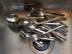 Temporary Bachelorhood … (Thru Mikes Viewfinder) Tags: iphone silverware knife fork spoon sink bachelor slob minamalistic lifestyle minimize shiny metal eat utensils kitchen