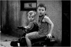 Bikers... (lubokl47) Tags: children bike boys czech bw monochrome