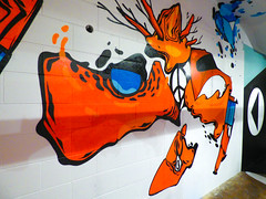 What Are You Trying to Say (Steve Taylor (Photography)) Tags: cnd arrow art graffiti mural streetart black orange white blue paint newzealand nz southisland canterbury christchurch city branch festival sofles spectrum ymca
