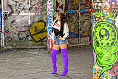 Sturdy Girl (Geoff Henson) Tags: graffiti boots purple model girl pose shorts