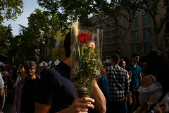 Barcelona (jaumescar) Tags: flower rose rosa sant jordi red gift present street photo streetphotography barcelona catalunya color naturallight tradition hand man