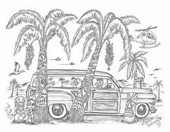 Voodoo Paradise (rod1691) Tags: myart art sketchbook bw scifi grey concept custom car retro space hotrod drawing pencil h2 hb original story fantasy funny tale automotive illistration greyscale moonpies sketch sexy