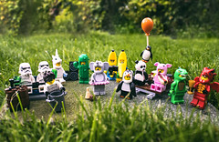 The Minifigure Garden Party (Jezbags) Tags: minifigure garden party lego legos toy toys canon canon80d 80d laowa wideangle wide angle cactus stormtroopers elephant penguin pig dragon dinosaur banana unicorn dancing drinking icecream balloon hotdog series18 toyphotography