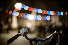 Carpe Diem / Gutenbergplatz (spallutography) Tags: noctilux karlsruhe carpe diem gutenbergplatz classic presets bike fahrrad night street wideopen lights biergarten beergarden