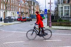 Little Red Riding Hood (108/365) (Walimai.photo) Tags: bike bici bicicleta bicycle amsterdam robado candid portrait retrato rojo red panasonic lx5 lumix street calle color colour