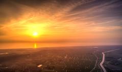 Sun setting in the North Sea. (Alex-de-Haas) Tags: dji dutch europa holland nederland nederlands netherlands noordholland noordhollandschkanaal noordzee northsea phantom phantom4 phantom4pro uav aerial aerialphotography air canal drone kanaal landscape landschaft landschap lente lucht luchtfotografie polder sea skies sky skyscape spring sundown sunset village water waterway waterweg zee zonsondergang