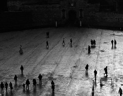 """""""Shadows come out of the rain"""" (periStatic) Tags: edinburgh bw blackandwhite monochrome anonymous people strangers city citylife contemporary time alive shadows castle plaza family camera watch"""