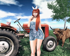 🍎 Go west! (Apple aka Ossia) Tags: maitreya catwa skinnery suicidal unborn conviction eliavah neve luxe hive jian lb little branch second life secondlife blogger blogging blog photography photograph photoshop photo portrait ginger freckles redhead country sky clouds grass green cow piglet tractor