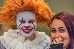 Caught  gossiping with the clown (mArt Image) Tags: clown comic convention girl chat street nikon d810