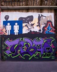 IMGP9809 Man and Woman (Claudio e Lucia Images around the world) Tags: murales graffiti streetart milano vialemonza ferrovia via pontano milanese pentax pentaxk3ii sigma sigma1020 pittura face faccia murale joker green smile muro men woman wc symbol man women