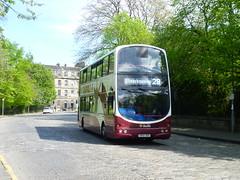 Lothian 766 passes over the setts in Circus Place, in the New Town, Edinburgh. (calderwoodroy) Tags: eclipsegemini wrightbus b7tl volvo sn56abx 766 edinburghtransport transportforedinburgh lothianbuses doubledecker bus circusplace newtown edinburgh scotland