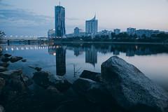 Morning blue hour (desomnis) Tags: vienna wien viennadc skyscraper morning morninglight reflection river danube danuberiver skyline austria österreich europe europa urban architecture waterreflection dctower desomnis 5d canon5dmarkiv canon5d tamronsp2470mmf28 tamron2470mm tamron2470mmf28 tamron2470