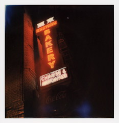 Bakery Moon (tobysx70) Tags: polaroid originals color 600 instant film slr680 eastern bakery moon grant avenue chinatown san francisco california ca neon sign illuminated lit night nocturnal chinese american food characters glow brick wall polavacation 042618 toby hancock photography
