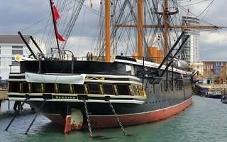 Royal Navy HMS Warrior 40-gun iron-hulled frigate, 1859 - Historic Dockyard, Portsmouth, England