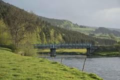 Le pont bleu (Titole) Tags: bridge pont blue doubs river landscape france post fence water sky trees firtrees titole nicolefaton