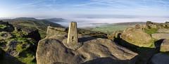 Stanage Edge (l4ts) Tags: landscape derbyshire peakdistrict darkpeak stanageedge gritstone gritstoneedge gritstonetors trigpoint overowlertor higgertor mist temperatureinversion contrails