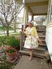 Putting My Best Foot Forward On Mothers Day (Laurette Victoria) Tags: porch mothersday hat laurette woman dress floralprint pumps shrug