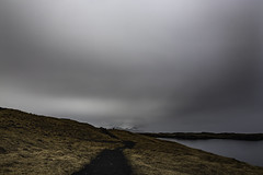 The Path and the Distant Mountains (jessicalowell20) Tags: 2014 stykkisholmur afternoon angles bigsky black clouds europe gold grass gray harbor iceland lines may mountains noperson northatlanticocean path spring summer white