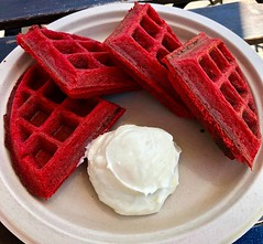 red velvet waffles from SPRO Coffeelab (Fuzzy Traveler) Tags: redvelvetwaffles redvelvet waffles creamcheeseicing creamcheese sweet dessert sprocoffeelab sparksocialsf