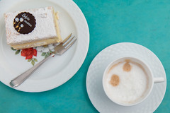 MisŽrable cake and cup of cappuccino. (annick vanderschelden) Tags: mother sugar powdersugar chocolate rose decoration flower leaf misžrable gray blue belgian plate pastry food bakery misérable