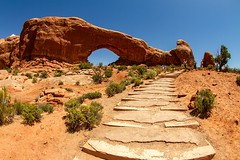 Arches National Park (Karen_Chappell) Tags: travel usa utah arch nature rocks stone steps path wideangle fisheye canonef815mmf4lfisheyeusm archesnationalpark park nationalpark moab orange blue brown green scenery scenic landscape