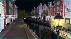 Amsterdam by night (Tim Deschanel) Tags: tim deschanel sl second life paysage landscape ville town amsterdam red light district canal adept lampadaire lampe nuit night