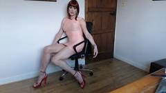 Me and my chair (Juliette Noir) Tags: trans crossdresser crossdressing transgender transvestite glamour dress legs heels stiletto red tvcd mini minidress pink