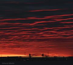 Fiery Skies (Victoria C Martin) Tags: sunrise red landscape highcontrast dramaticskies drama ontariocanada waterfront bridge skywaybridge silhouette