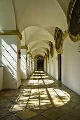Cloister of the Servitenkirche (Tigra K) Tags: wien austria at 2017 architecture baroque ceiling church cloister floor interior light monochrome otherart painting portal repetition rhythm shadow vienna window art pattern arch